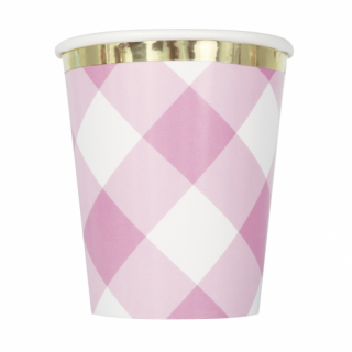 Хартиена парти чашка Първи рожден ден розово райе и злато / First Birthday Pink Gingham, 8 бр. в опаковка /Gd/