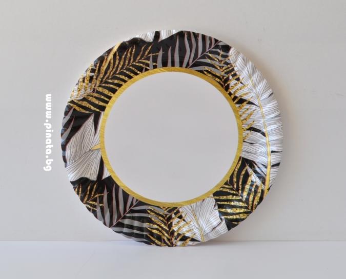 Хартиена парти чинийка Листа златни и сребърни , 23 см