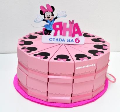 Хартиена торта с тематична декорация и персонализация Мини Маус