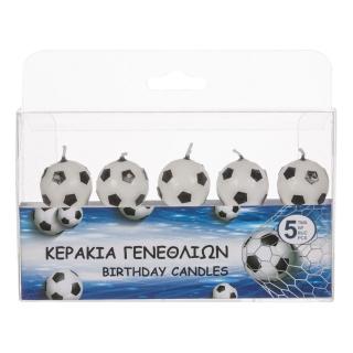 Свещички за рожден ден футболни топки, 5 броя