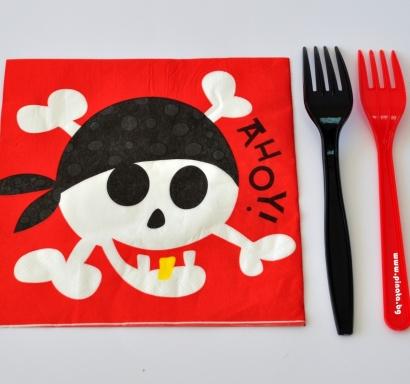 Парти салфетки Пират Пиратско парти 33х33 см