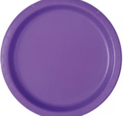 Хартиена парти чинийка лилава неон, 18 см