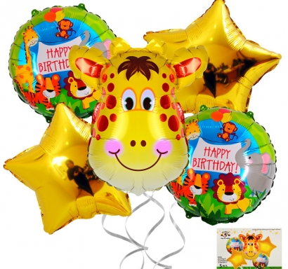 Комплект 5 бр. фолиеви балони Жираф сафари, джунгла, животни