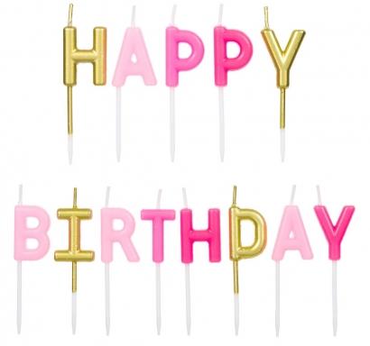Свещички букви за рожден ден с текст Happy Birthday, златни и розови