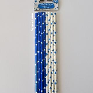 Картонени сламки сини и бели 8 бр опаковка
