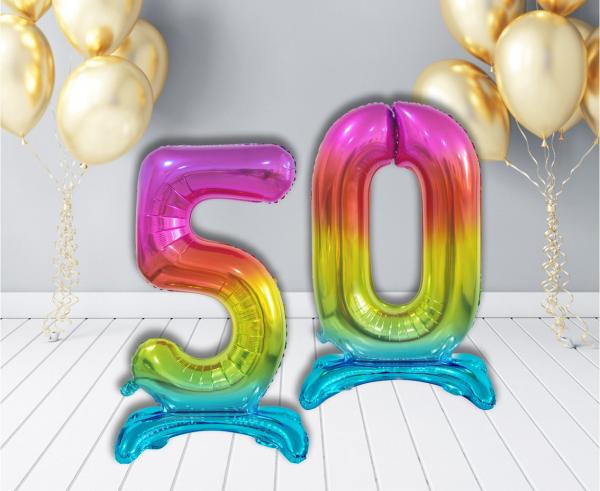 Фолиев стоящ балон цифра 0-9, цвят дъга, 76 см височина /Gd/