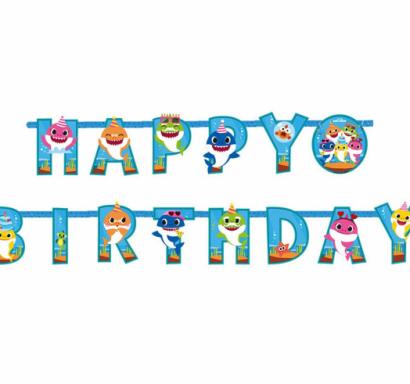 Банер гирлянд за декорация Бейби Шарк / Baby Shark с текст Happy Birthday, 1,8 м дължина /Gd/