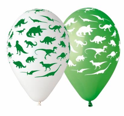 Комплект премиум балони Динозаври, 30 см диаметър, 5 бр. в опаковка, микс цветове  /Gd/