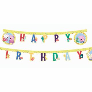 Банер гирлянд за декорация Пепа Пиг / Peppa Pig с текст Happy Birthday, 2,3 м дължина /Gd/