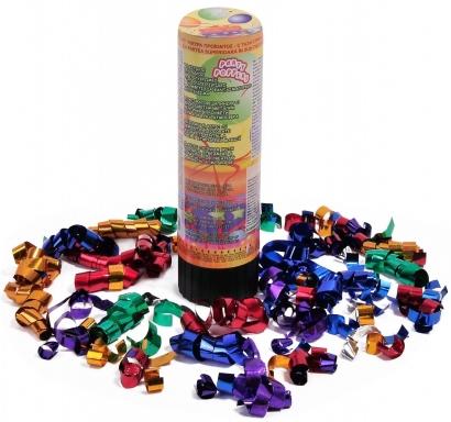 Парти конфета цилиндър с многоцветни металик лентички и конфети, дължина 15 см