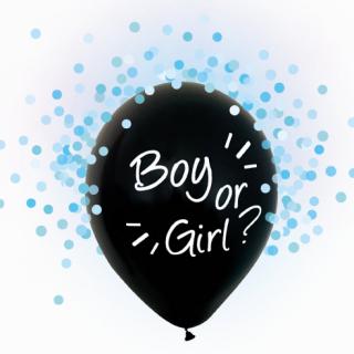 """Балон за разкриване пола на Бебето """"Момче или Момиче"""" / """"Boy or Girl?"""" - 30 см. 4бр. в опаковка, с включени сини конфети"""