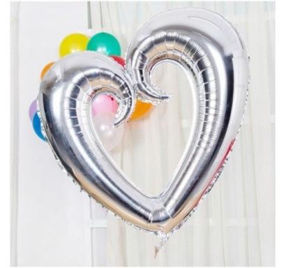 Фолиев балон Сърце сребърно, 80 см височина /30