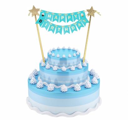 Декорация за торта в светло синьо, златно и брокат с текст Happy Birthday, 25см /Gd/