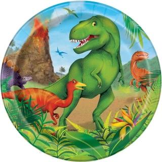 Хартиена парти чинийка Динозаври 18 см, Dinosaur, 8 бр. в опаковка