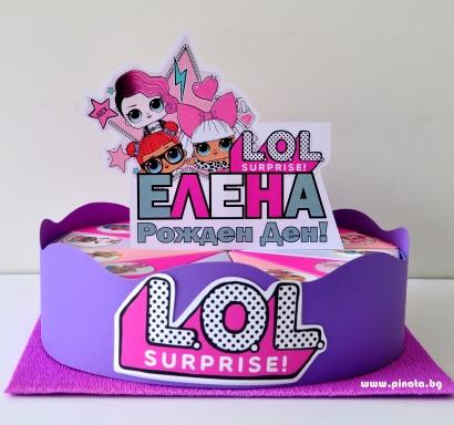 Хартиена торта с тематична декорация и персонализация Лол Сърпрайс