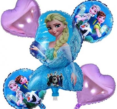 Комплект фолиеви балони Замръзналото Кралство, Елза и Ана, 5бр. в опаковка