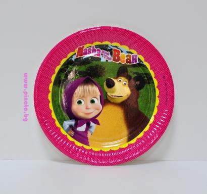 Хартиена парти чинийка Маша и Мечока 23 см, лицензирани