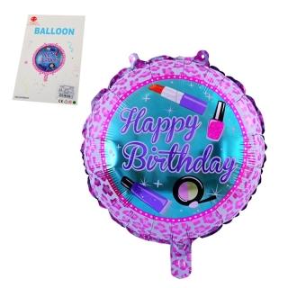 Фолиев балон Happy Birthday, червило, лак, сенки, 45х45 см