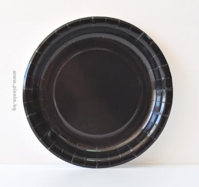 Хартиена парти чинийка, 23 см черна