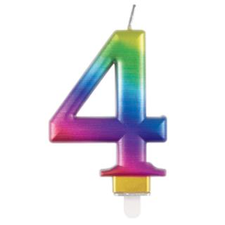 Свещичка за рожден ден, металик цвят дъга   0-9