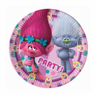 Хартиена парти чинийка Тролчета / Trolls 20 см. диаметър, 8 бр. в опаковка /Gd/