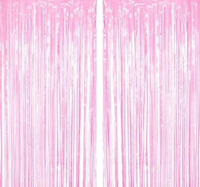 Ресни за декорация  /ПВЦ/ лъскави, цвят розово 100х220см