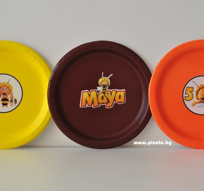 Персонализирана хартиена парти чинийка пчеличката Мая, 5бр. пакет