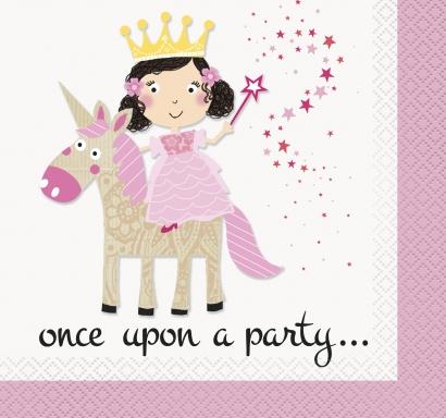 Парти салфетки Розова принцеса и еднорог 16 бр в пакет, Pink Princess & Unicorn