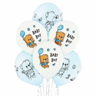 Комплект 6 бр. премиум балони с печат Мече Бебе Момче / Baby Boy, микс пастелни цветове Belbal /Gd/