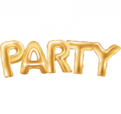 Фолиев балон надпис Парти / Party, 130х40см, цвят злато
