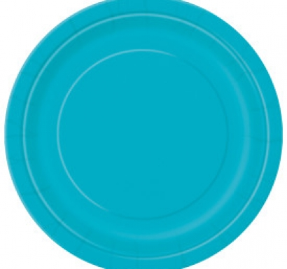 Хартиена парти чинийка карибско синя, 23 см