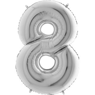 "Фолиен балон цифра 8 цвят сребро - 102 см височина /40""/"