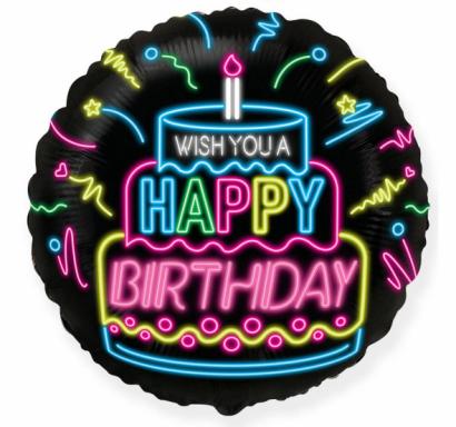 Фолиев балон кръг, цвят черен с неонов надпис Happy Birthday , 45 см Flexmetal, /Gd/