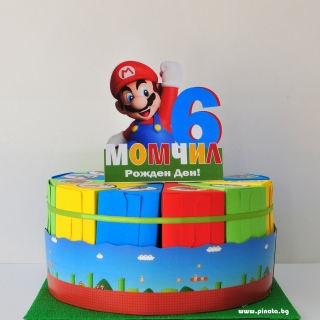 Хартиена торта с тематична декорация и персонализация Супер Марио