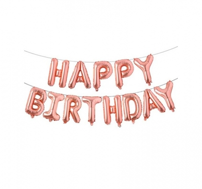 Надпис от балони Честит Рожден Ден / Happy Birthday, цвят розово злато