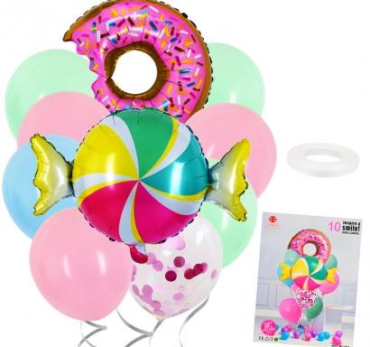 Комплект 10 бр. фолиеви и латексови балони Бонбон и поничка, различни пастелни цветове и конфети
