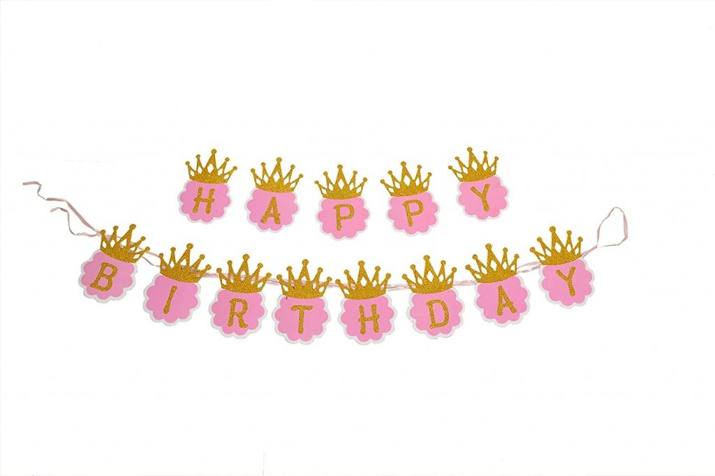 Банер комплект Happy Birthday, в розово и златно брокат с корони