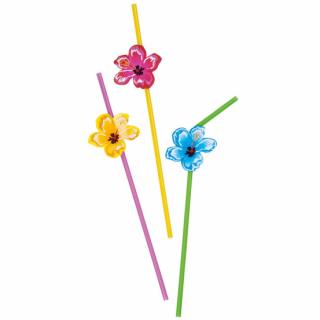 Парти сламки с облър Хавайски цветя Хибискус / Hawaiian Hibiscus, 6 бр. в опаковка /Gd/