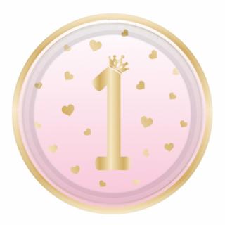 Хартиена парти чинийка  Първи рожден ден момиче цвят розов омбре / First Birthday, 23 см. диаметър, 8 бр. в опаковка Amscan /Gd/