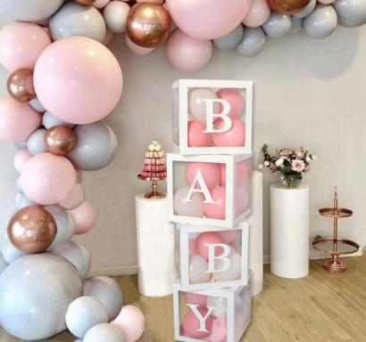 Комплект 4бр. декоративни прозрачни кутии за балони - Love, Baby, Boy, Girl ...цвят бял