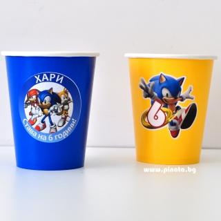 Персонализирана хартиена парти чашка 250 мл Соник