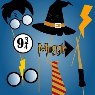 Пропсове за забавни снимки и декорация Хари Потър, 8 бр комплект