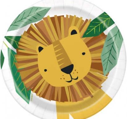 Хартиена парти чинийка Лъв, сафари, животни 18 см / Animal Safari, 8 бр. в опаковка
