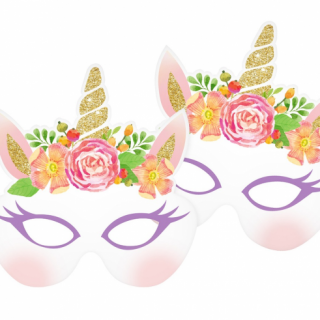 Парти маски Еднорог / Unicorn, 6 бр. в опаковка /Gd/
