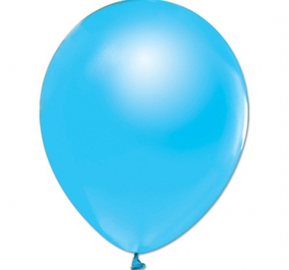 Балон светло синьо металик, диаметър 30 см, 10 бр. в пакет