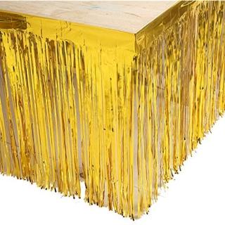 Ресни, завеса за декорация на маса /ПВЦ/ лъскави, цвят злато 70х300см