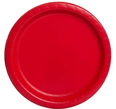 Хартиена парти чинийка червена, 23 см, 16 бр. в опаковка