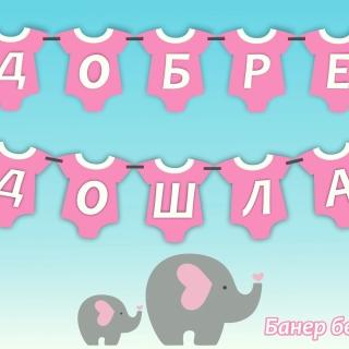 Персонализиран банер Добре дошла вкъщи бебе момиче, с включени 2 бр флагчета бонус