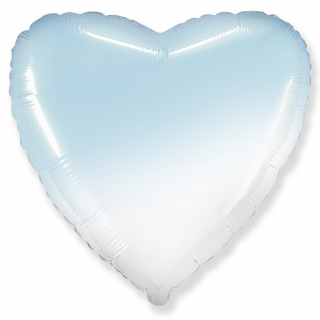 Фолиев балон гигантско Сърце в преливащи пастелни цветове бяло и синьо, 80 см Flexmetal, /Gd/