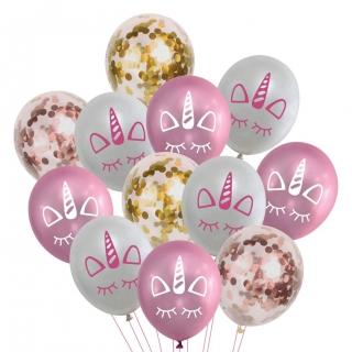 Комплект 12 бр. латексови балони Еднорог, цвят розов,  бял и прозрачни с блестящи златни конфети